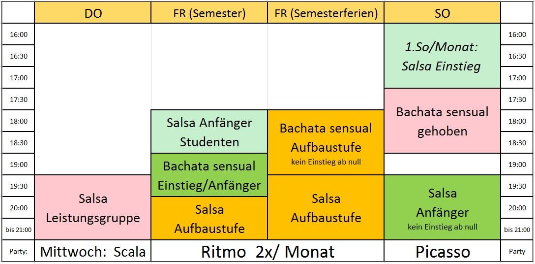Salsa in Regensburg Stundenplan